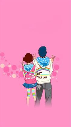 情侣,卡通,恩爱,粉色