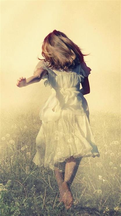 美女,女孩,奔跑,唯美,黄色,女人,长发背影