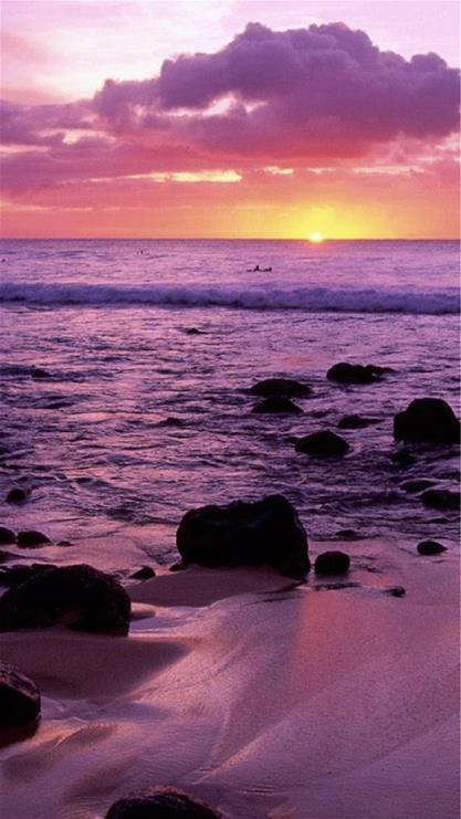风景,海边,礁石,天空,夕阳,紫色