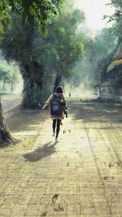 风景,背影,街道,落叶,绿色