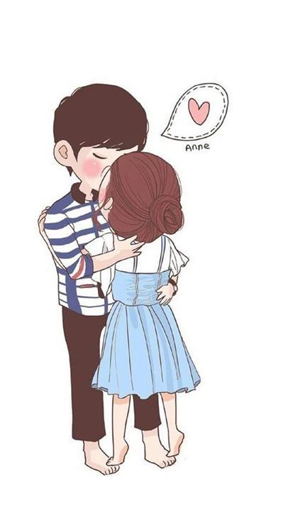 卡通,情侣,接吻,kiss