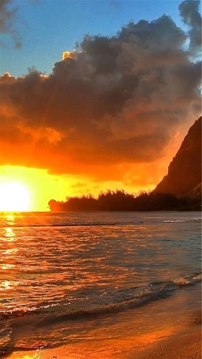 风景,夕阳,海边,沙滩,棕色