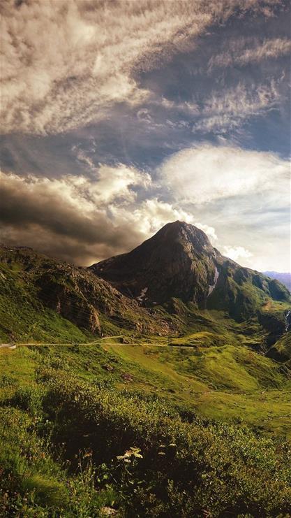 风景,山峰,草地,云,彩色