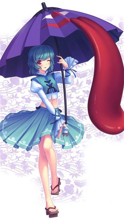卡通,女孩,雨伞,蓝色