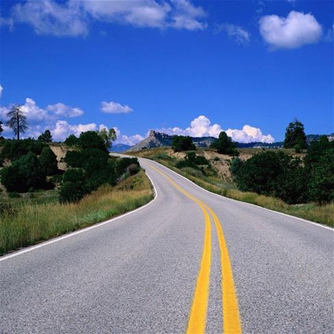 马路,公路,蓝天,白云,蓝色