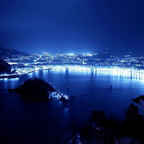 城市,夜景,湖面,蓝色