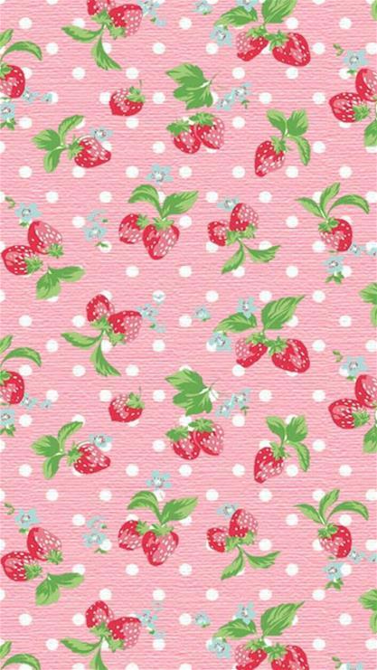 碎花卡通小清新草莓粉色
