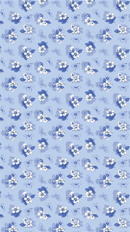 碎花,卡通,花朵,蓝色