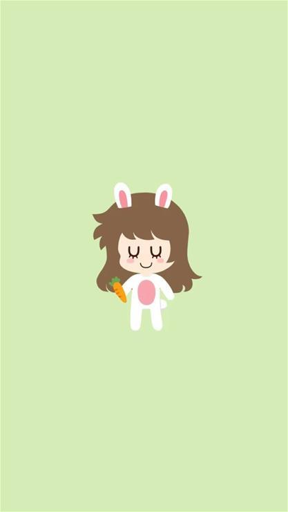 卡通,女孩,兔子