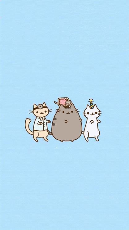 天生一对,卡通,猫咪,蓝色