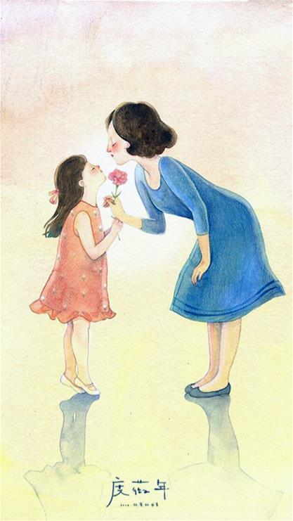 母亲节,插画,黄色