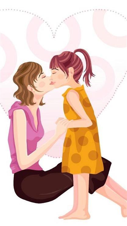 母亲节,卡通,女孩,彩色