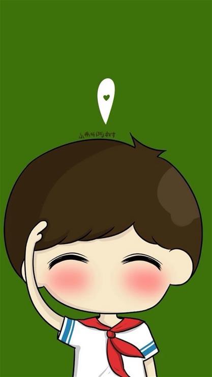 手機綠色護眼壁紙卡通