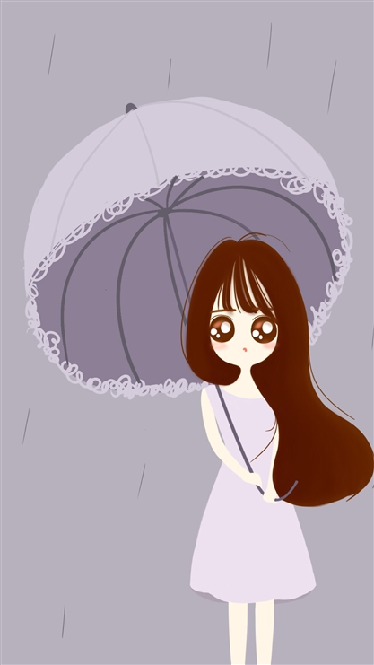 卡通,雨伞,女孩,动漫,彩色