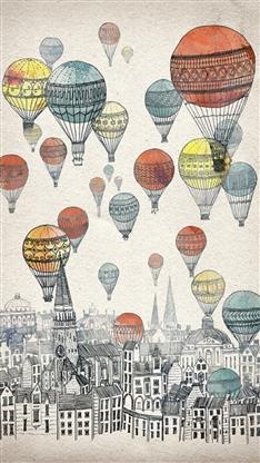 动漫,手绘,卡通,热气球,漫画,彩色