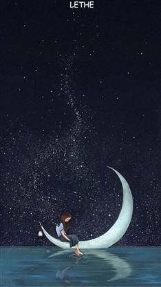 动漫,星空,唯美,月亮,漫画,手绘,彩色