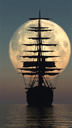 风景,唯美,月亮,船,大海,海水,夜晚,彩色
