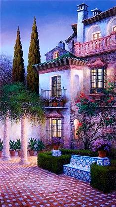 风景,唯美,素描,手绘,房子,彩色,意境
