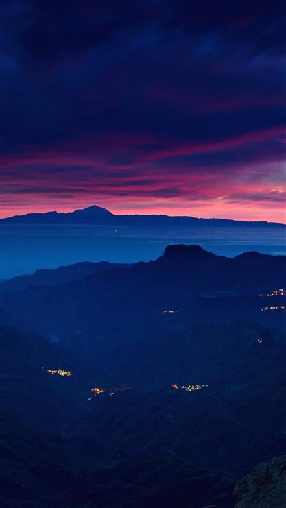 夕阳,云,山峰,风景,彩色
