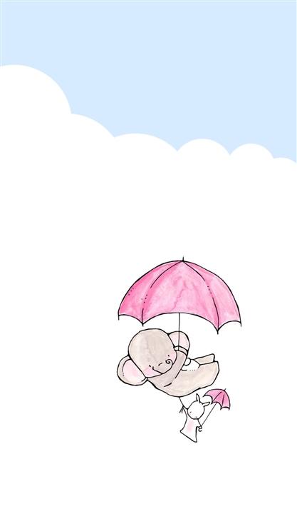 兔子,大象,雨伞,可爱,萌