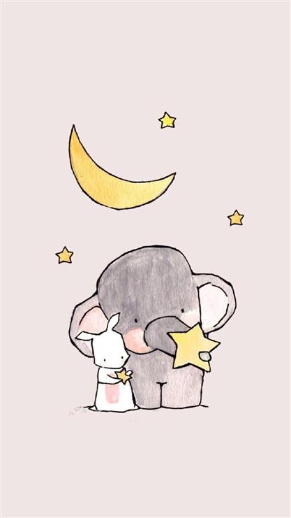 大象,兔子,月亮,星星,可爱,萌,卡通,动漫,彩色